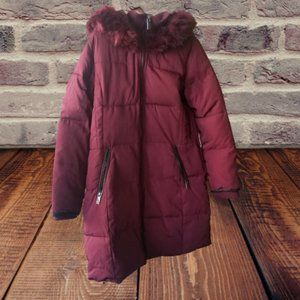Purple Hooded Coat with Faux Fur Size 10